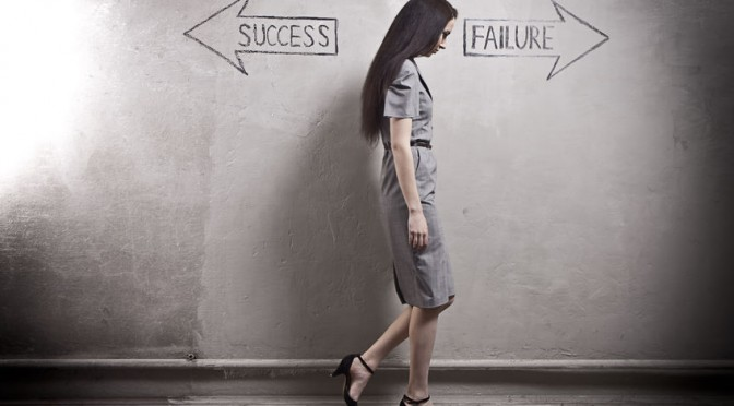 Woman between success and failure